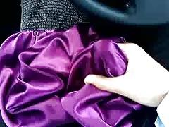 Cum on satin dress
