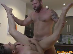 Straight muscle jock pounding roommates ass