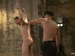 Brown-haired queer gets his butt pounded hard in BDSM scene