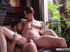Big dick boy rimming with facial