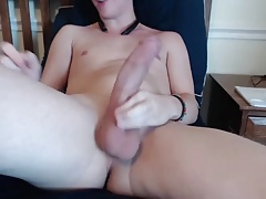 Boy with huge ciccumcised shaved penis masturbating 02