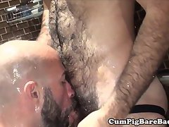 Mature bear fucked in hoist after rimjob