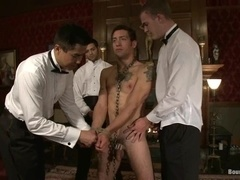 Two gay bitches get tortured and fucked in the living room