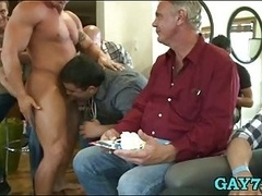 Aroused gay boys at party
