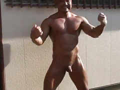 Muscle Asian Outdoor Jerk Off & Cum