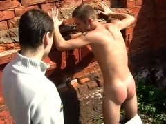 Blond gay lets his buddy spank his well-rounded butt