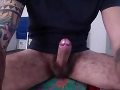 Huge cock jerks off