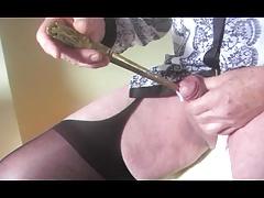 shemale transsexual sounding urethral lingerie nylon dildo