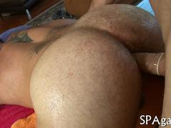 Hairy masseur gets his asshole fuck and pierced cock jerked