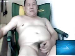 azia old man jerk in the webcam