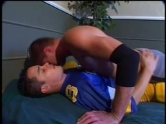 Slutty poofter lets his BF fuck his mouth and asshole