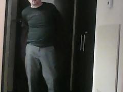 Stripping and masturbating