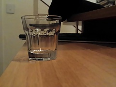Moaning orgasm on a glass