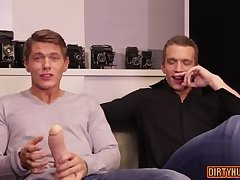 Muscle gay dildo with creampie