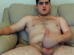 Gorgeus and hairy dude stroking