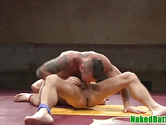 Inked muscle hunks deepthroat and jerk cock