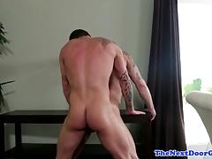 Tattooed muscle barebacking tight stud ass