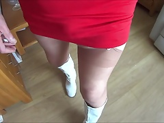 Red Skirt Stockings and Boots