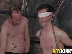 Dominant twink throat fucking his blindfolded sub