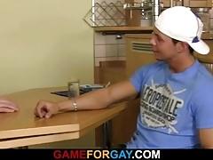 Swarthy dude seduces him into gay sex
