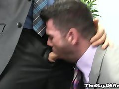 Suited muscular hunk assfucks tall stud