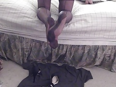 FF feet heels sheer pantys and cum