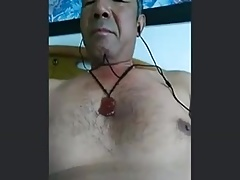 Chinese daddy shows off his big toy (no cum)