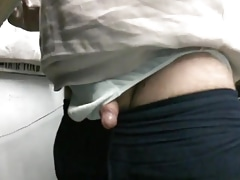 WANKING BEHIND THE COUNTER WHITE BRIEFS