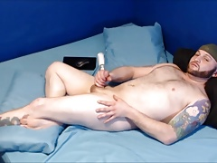Jerking off, giving myself a facial, butt plug, and swallow!