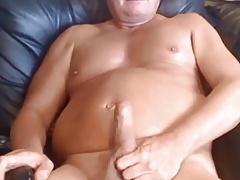 Muscular daddy cumming
