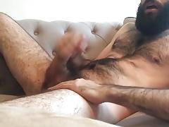 Hairy bearded guy jerking off