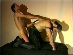 Queer in leather pants deepthroats his BF's cock and gets banged