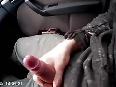 Old men swallows straight cum in car
