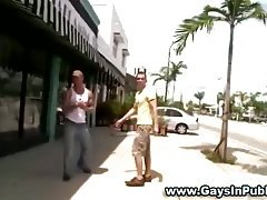 Public loving jock serviced by