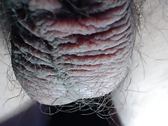 Close-up hairy balls during masturbation AND during orgasm