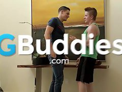 Teen gay buddy just started to suck