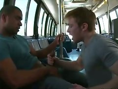 Public bus blowjob from an eager gay twink for a jock