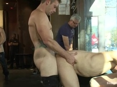 A lustful fairy gets his ass fucked hard at a cafe
