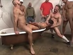 painfully homo Male receives Punished And Filled With Many Differnt Firm knobs In A gang-sex Making