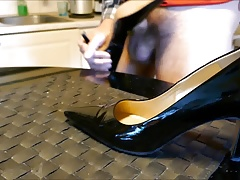 Cum in wifes black patent high heels