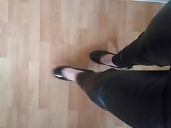 sissy walk in leather and heels