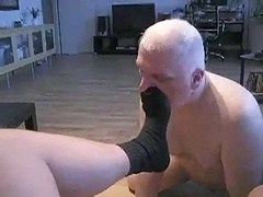 Licking feet, purple rod and eating cum