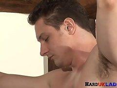 Sporty stud deepthroating brits hard cock