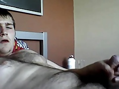 Sexy hairy bear enjoying his orgasm