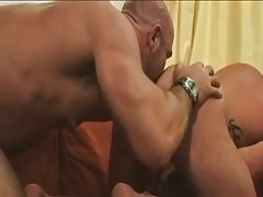 Tattooed studs ass licking & copulation on the orange sofa