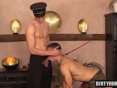Muscle gay spanking and cumshot