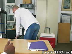 White hunk gets rammed in an office by a huge black cock
