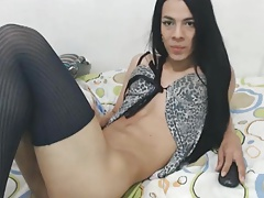 Horny Tranny Sucks Her Own Cock
