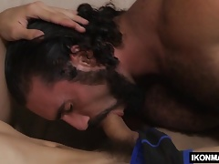 Strong stepdad plays with stepson
