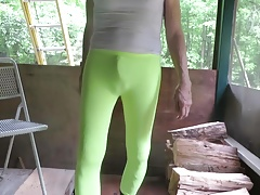 Sissy bitch in skin-tight spandex leggings